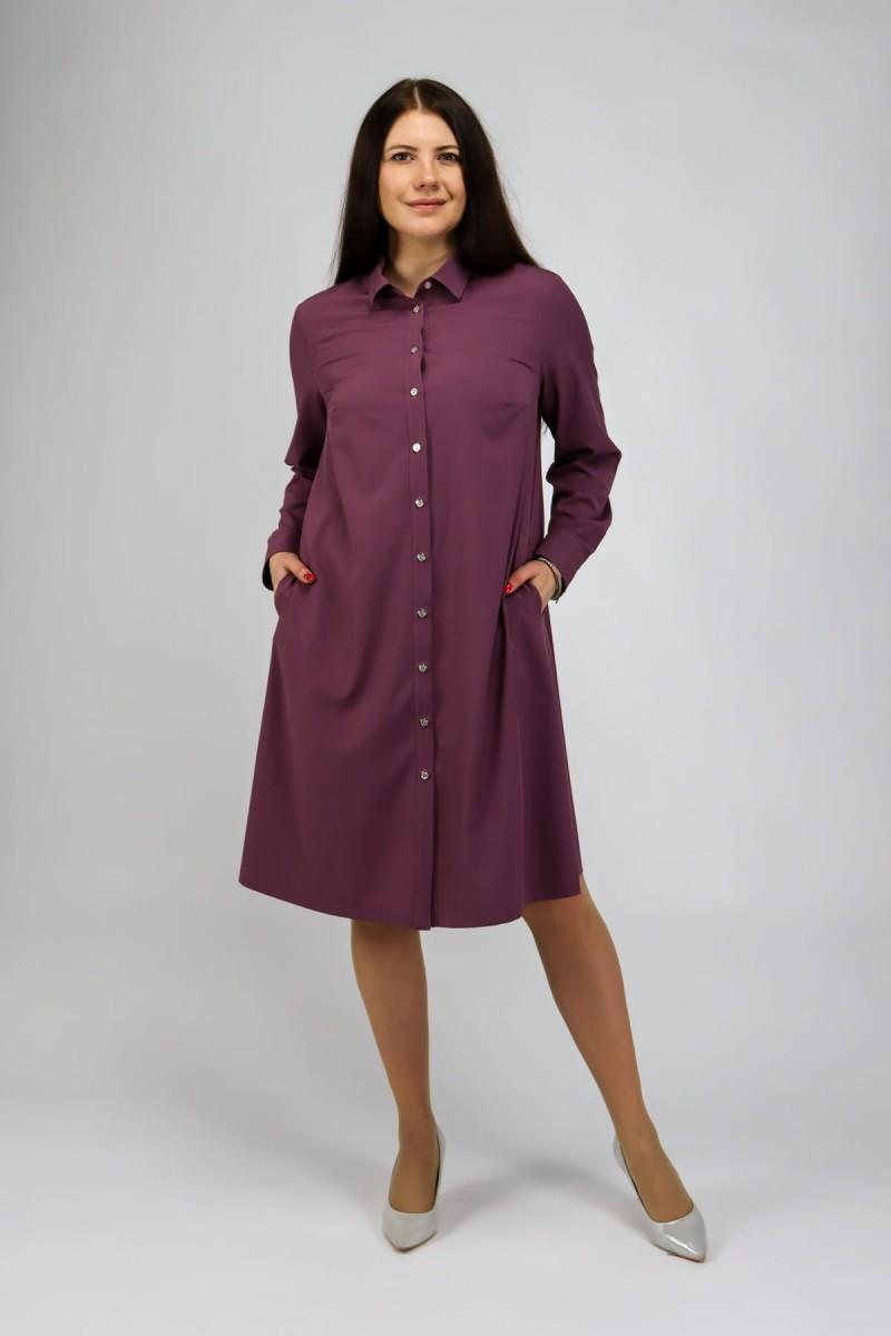 Платье-рубашка брусничного цвета с длинным рукавом