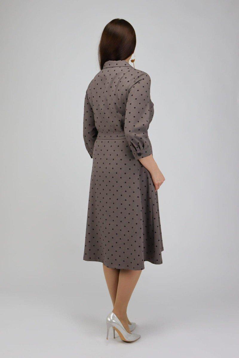 Платье с отложным воротником в горошек