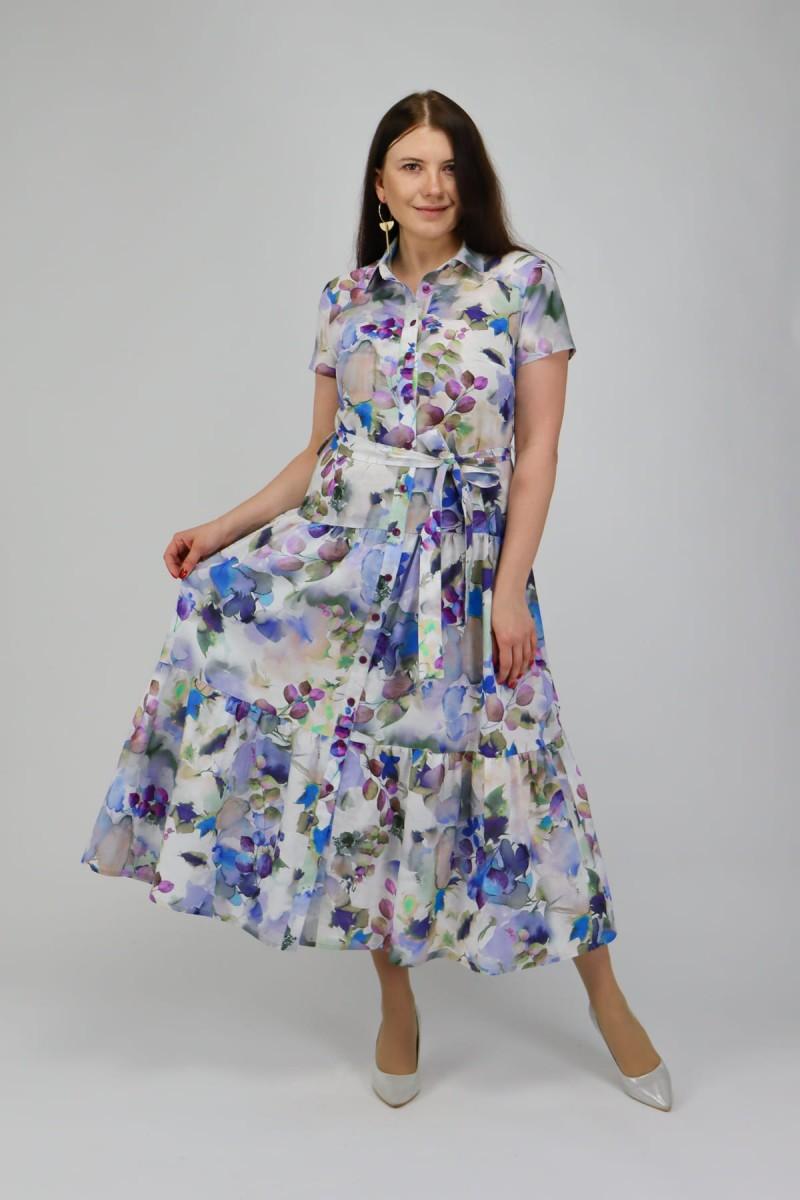 Хлопковое платье-рубашка макси