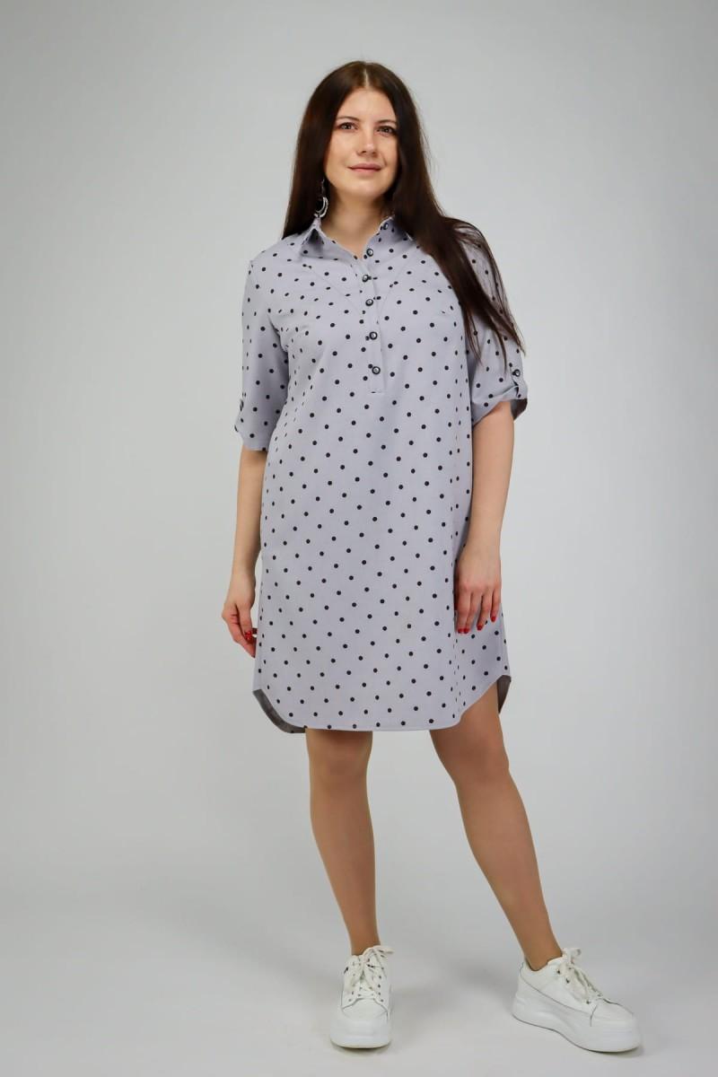 Платье-рубашка в горошек