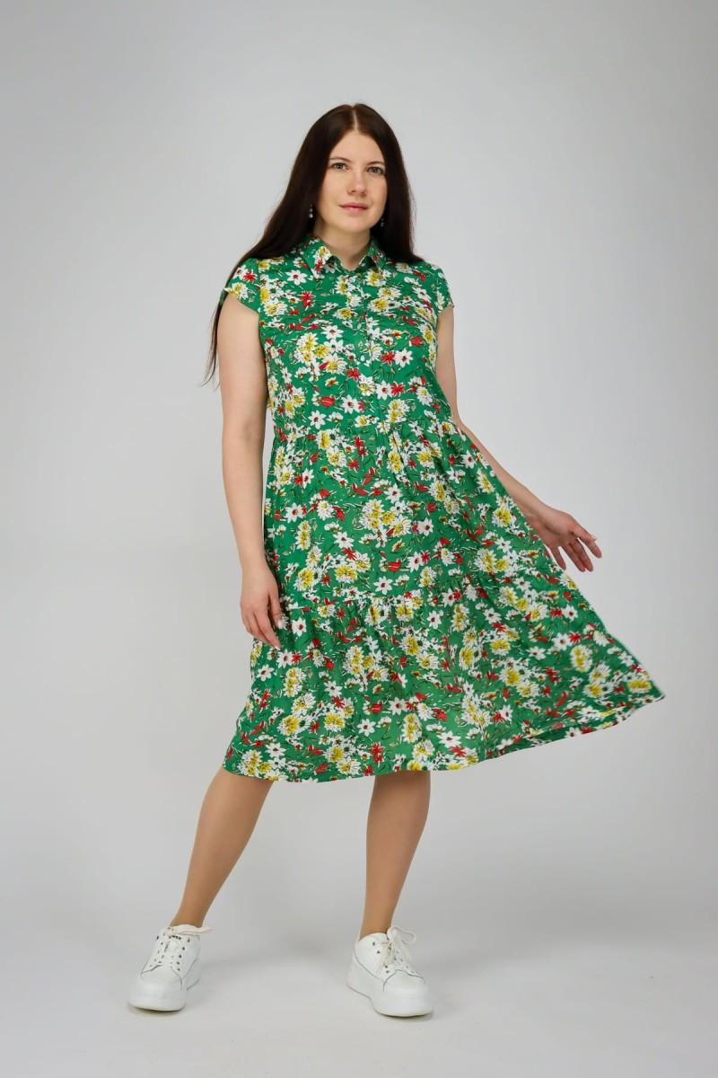 Хлопковое платье в цветочный принт
