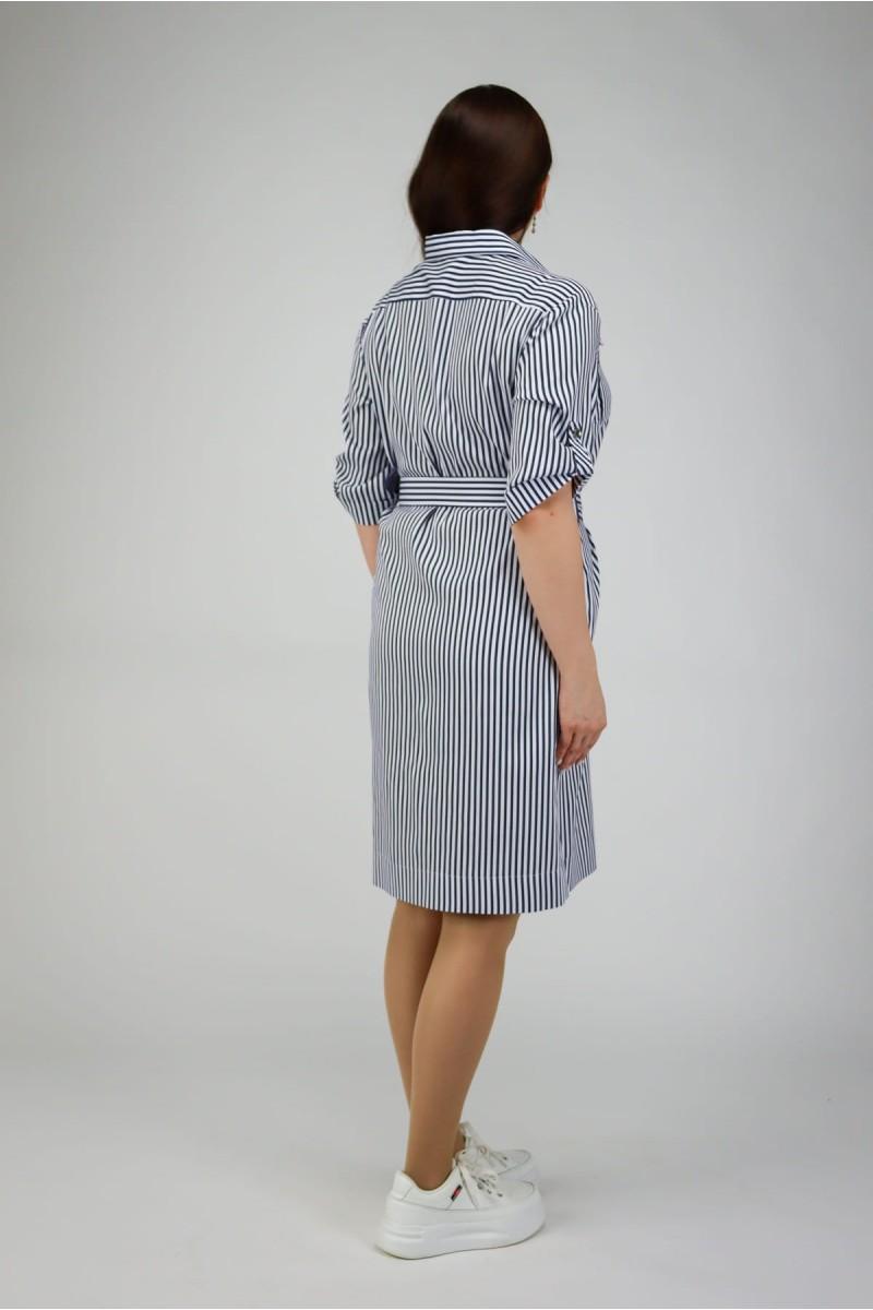 Платье-рубашка в тонкую полоску