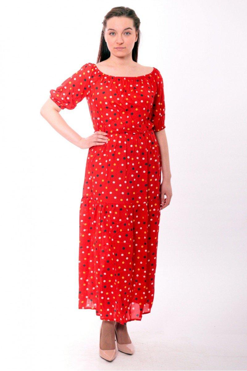 Длинное платье-крестьянка