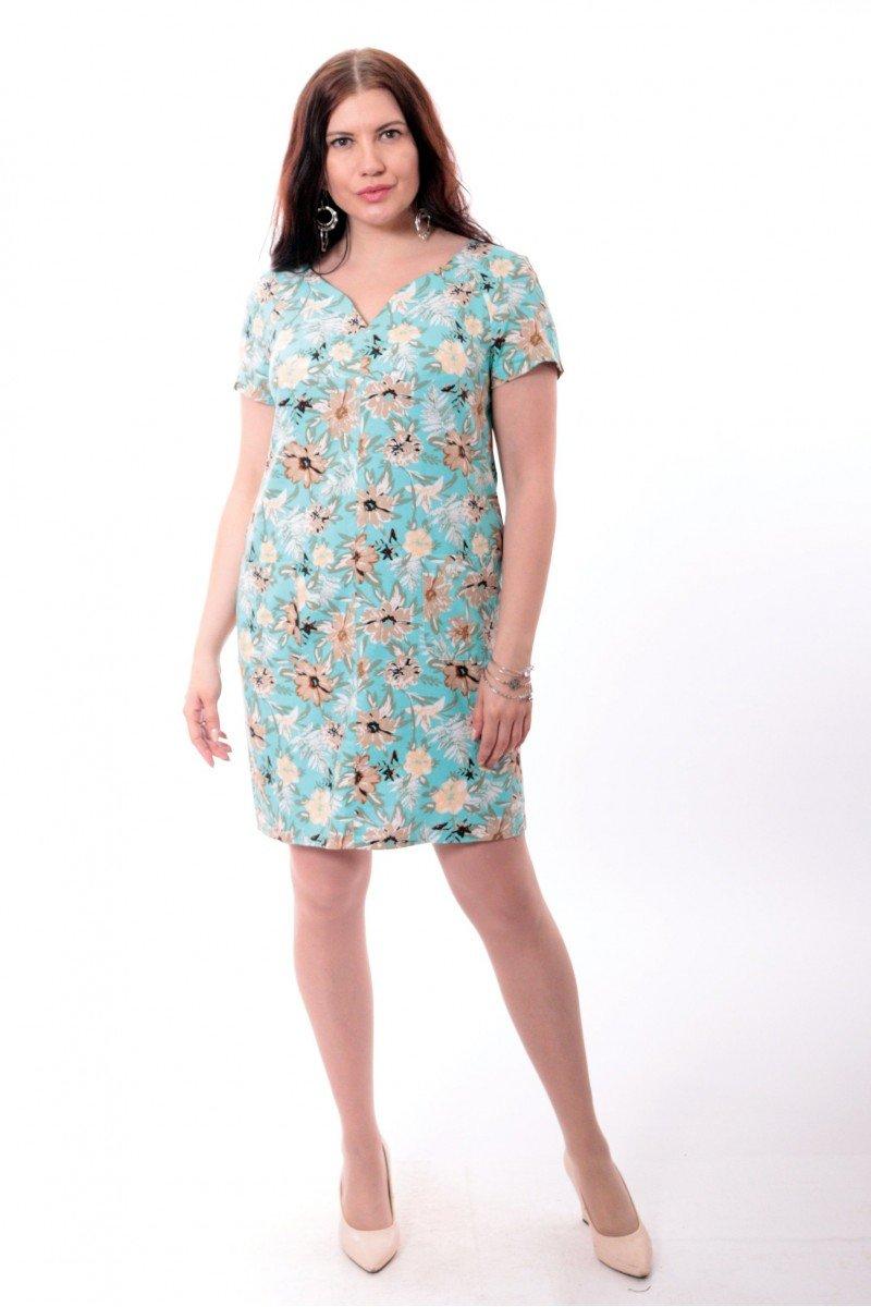 Платье из льна с V-образным вырезом