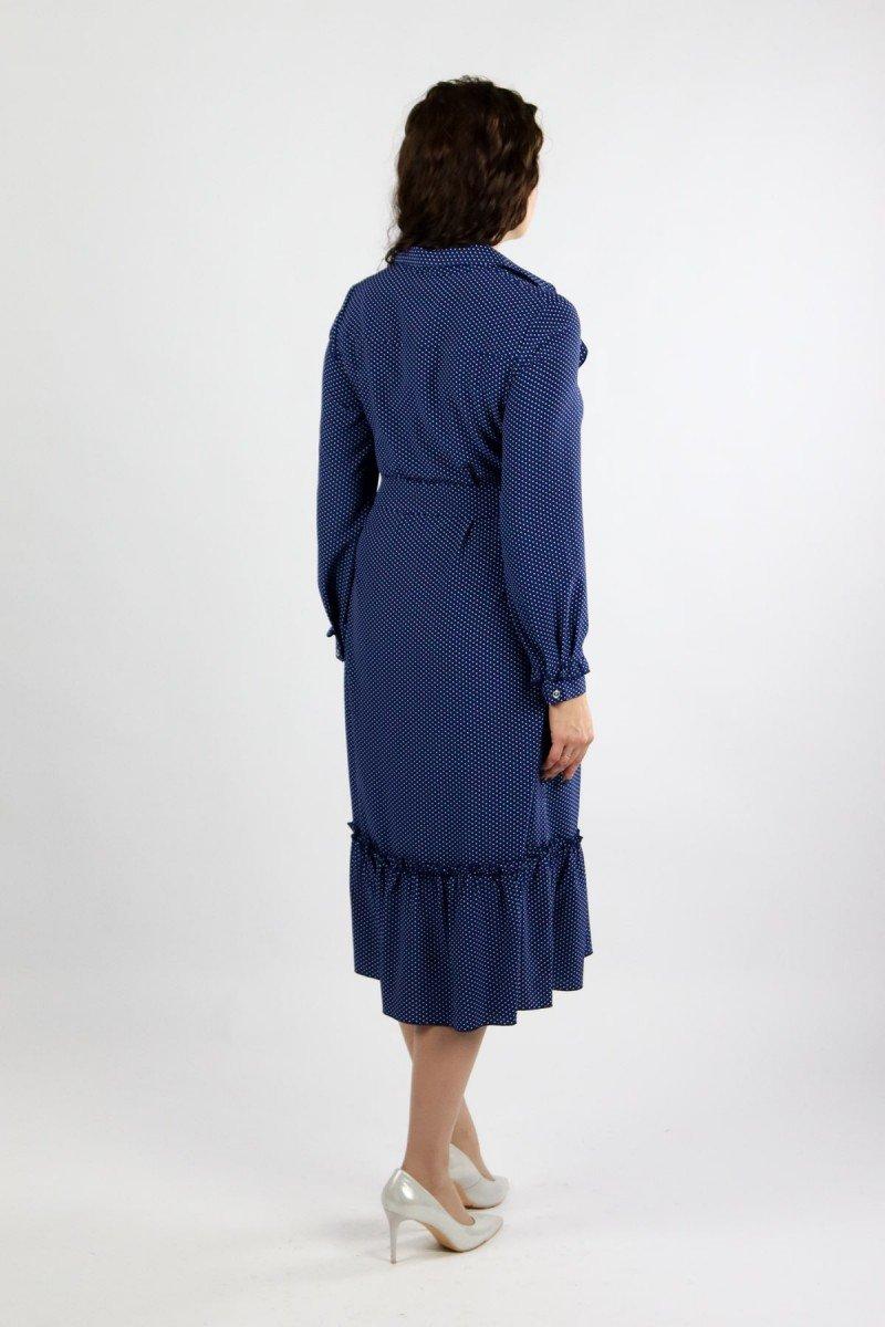 Платье в горошек с оборкой по низу