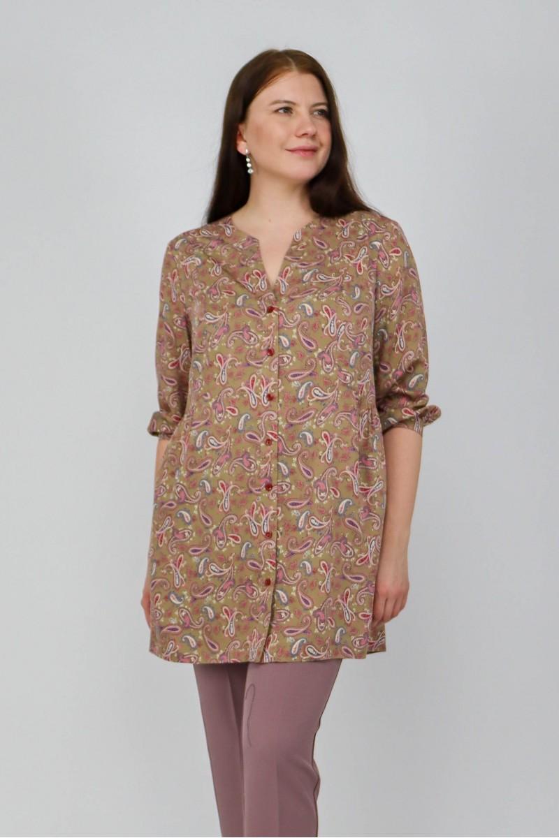 Удлиненная блузка на пуговицах