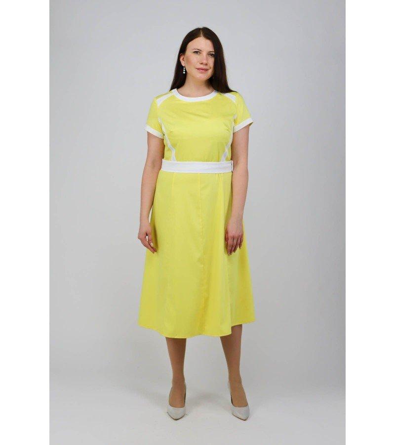 Платье миди с коротким рукавом