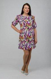 Платье с рюшей в цветочный принт